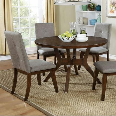 Abelone Mid-Century Modern Round Dining Table, Walnut