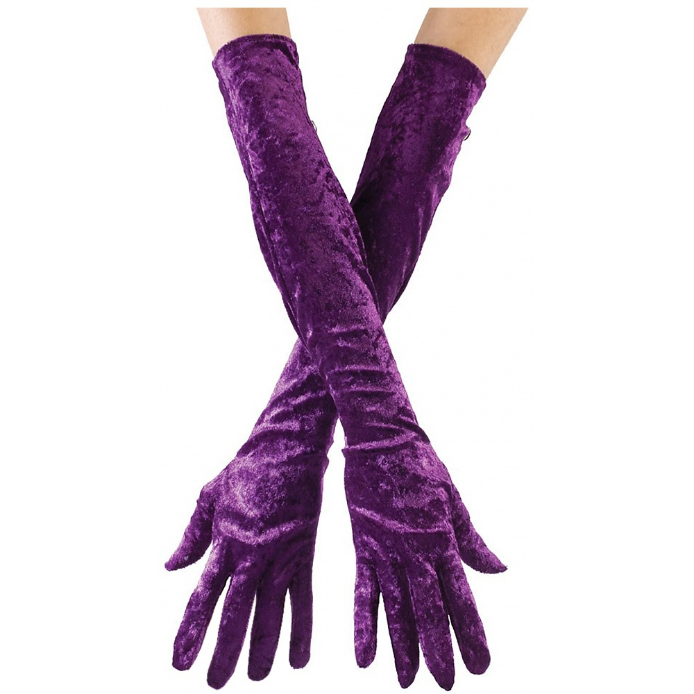 Long Velvet Gloves Adult Clothing Purple