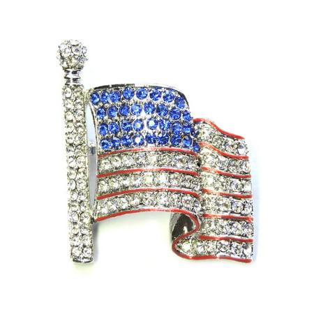 Faship USA Flag Pin Brooch Clear Blue Crystal - Usa Flag Pin