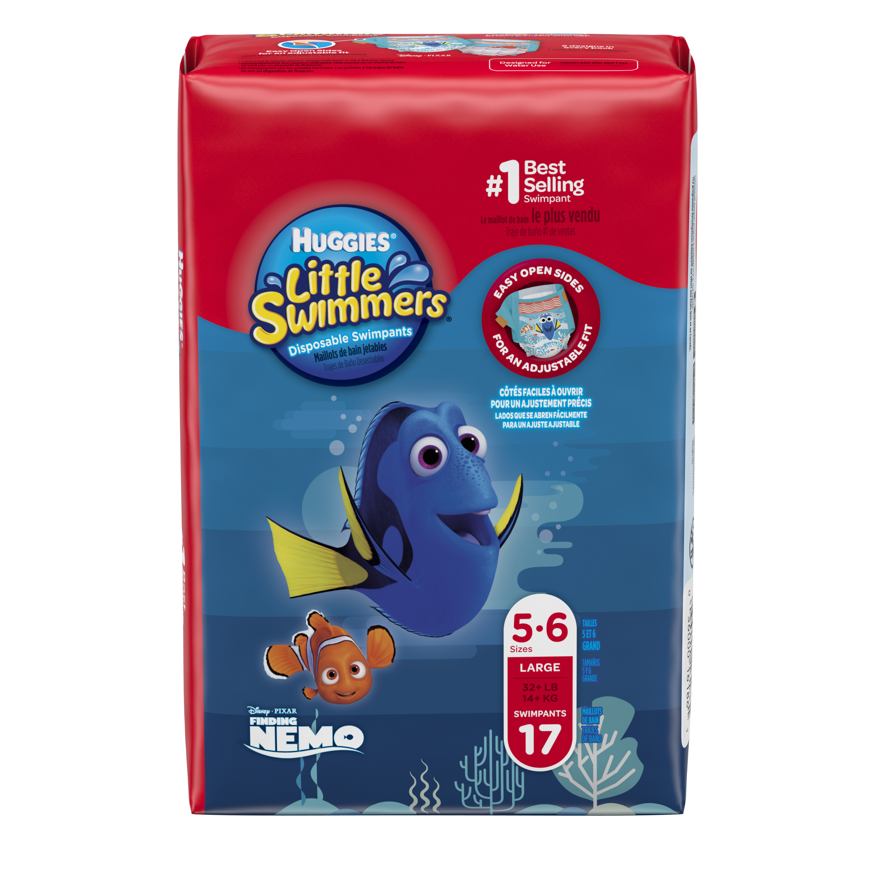 HUGGIES Little Swimmers Disposable Swim Diapers, Size Large (32+ lbs), 17 Count