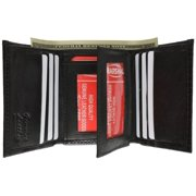 Alligator Print Cowhide Leather Trifold Wallet with ID Window & Credit Card Slots 71107 CR (C) Black