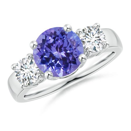 December Birthstone Ring - Classic Tanzanite and Diamond Three Stone Engagement Ring in 14K White Gold (8mm Tanzanite) - SR0160T-WG-AA-8-11.5