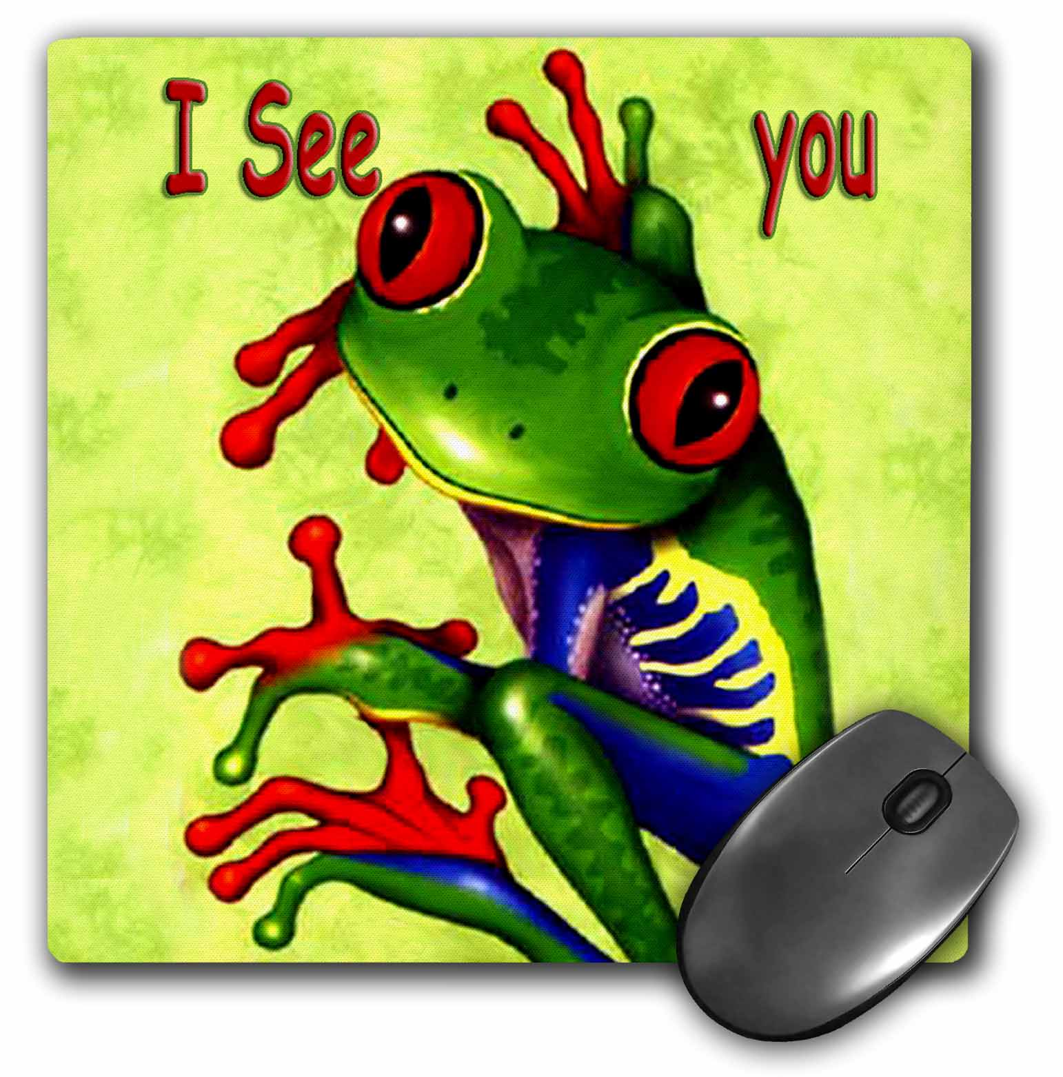 3dRose Frog I see You, Mouse Pad, 8 by 8 inches