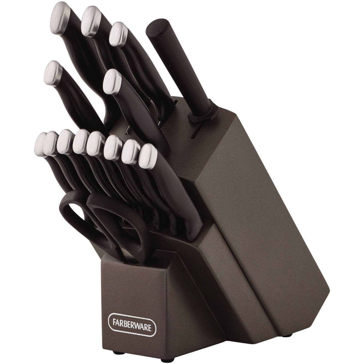 Click here to buy Farberware Sixteen Piece Black Comfort Grip Knife Set by Lifetime Brands.