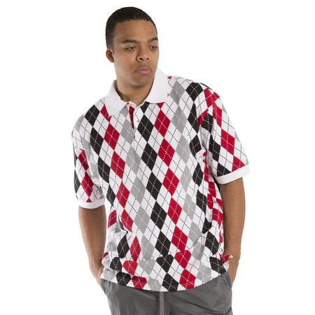 Vibes Men's Multi color Argyle Printed Pique Polo Shirts Relax Fit Short Sleeve ()