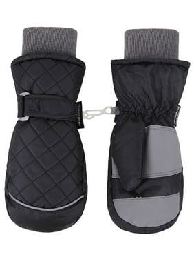 ANDORRA Kid's Premium Quilted Waterproof Thinsulate Ski Mittens, Longer Snow Cuff,M,Black