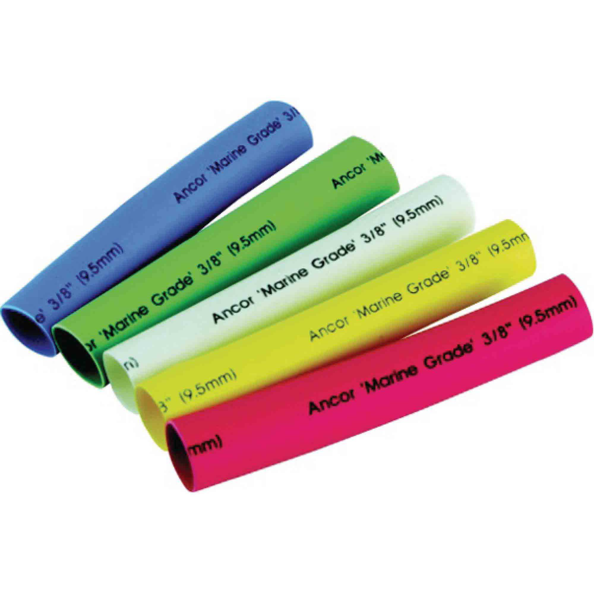 "Ancor Adhesive Lined Heat Shrink Tubing Assorted, 3/8' x 3"", Black, Green, Red, White, Yellow"