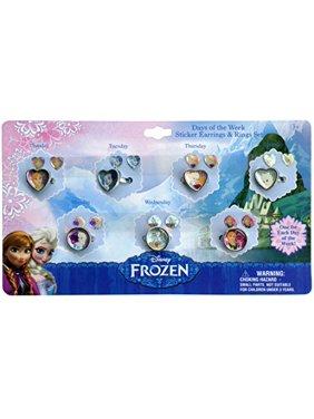 Disney Frozen Days of the Week Earrings & Rings Set for Girls
