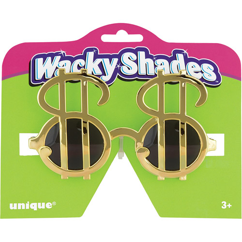 Gold Dollar Sign Novelty Glasses