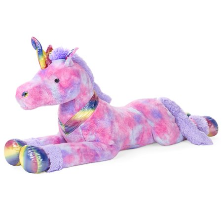 Best Choice Products 52in Giant Plush Unicorn Stuffed Animal w/ Large Sparkly Details, Rainbow Fur