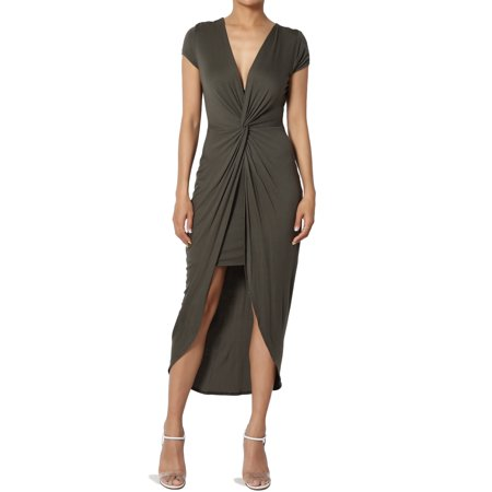 TheMogan Junior's Jersey Knotted Plunge V-Neck Short Sleeve HI-Lo Bodycon Dress Kaleidoscope Jersey Dress