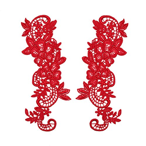 """Red 2.75""""x8"""" Pair of Floral Venice Lace Applique Embroidered Bridal Guipure Patch Motif (2 Pieces)"""