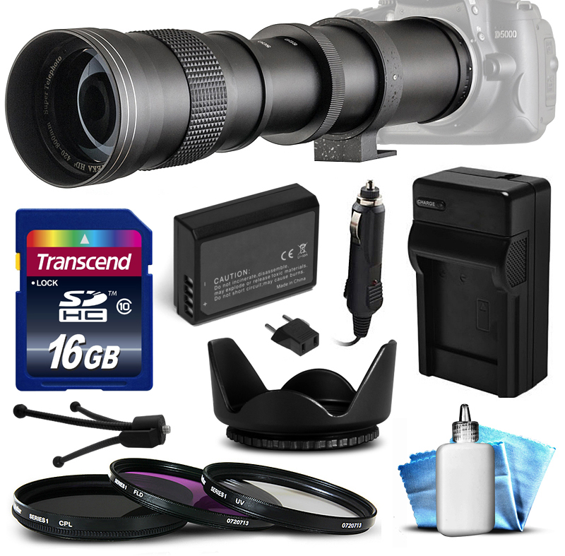 Opteka 420mm-800mm f/8.3 HD Telephoto Lens Bundle for Nik...