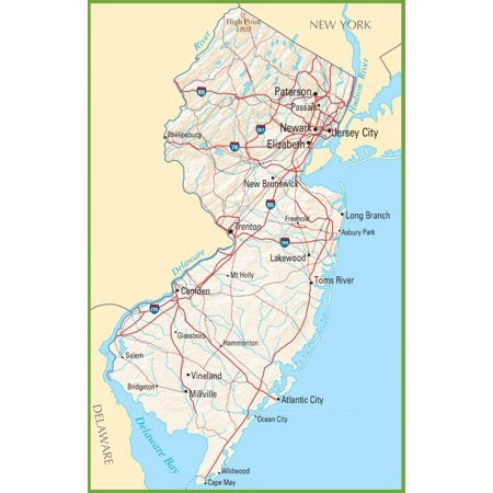Laminated Poster New Jersey State Road Map City Highway Poster Print 24 x (New Jersey State Map With Cities And Counties)