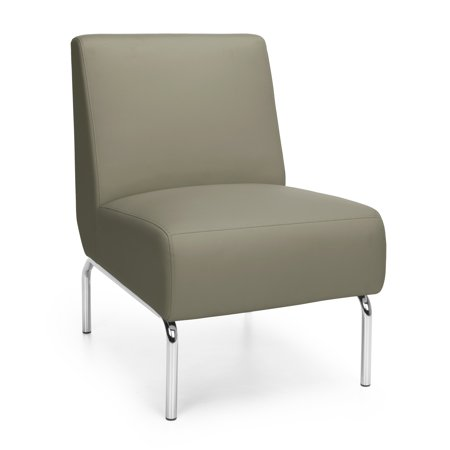 Model 3000 Triumph Series Taupe vinyl upholstery chrome finish legs Armless Lounge Chair 300 Lbs Weight capacity