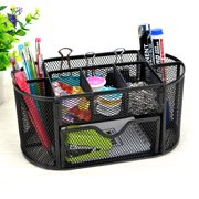 9 Storage Compartments Multi-functional Mesh Desk Organizer Pen Holder Stationery Storage Container Box Collection Office School Supplies Caddy