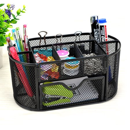 Compartment Desk Organizer - 9 Storage Compartments Multi-functional Mesh Desk Organizer Pen Holder Stationery Storage Container Box Collection Office School Supplies Caddy
