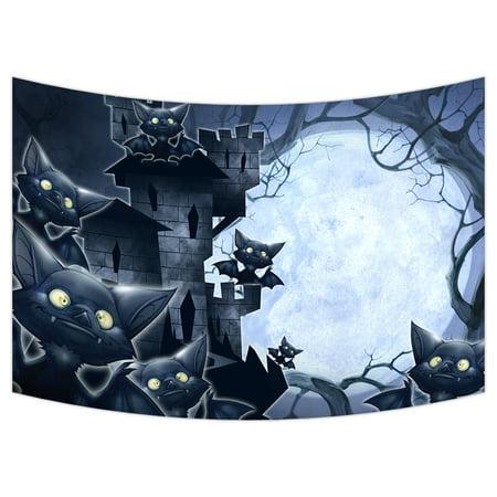 YKCG Halloween Castle Funny Bats Full Moon Night Wall Hanging Tapestry Wall Art 90x60 inches - Funny Halloween Wall Posts