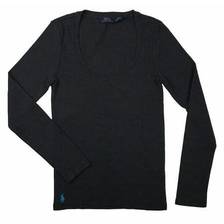 Ralph Lauren Polo Womens Long Sleeve Ribbed Scoop Neck Pony Logo Shirt New (Gray,S) ()