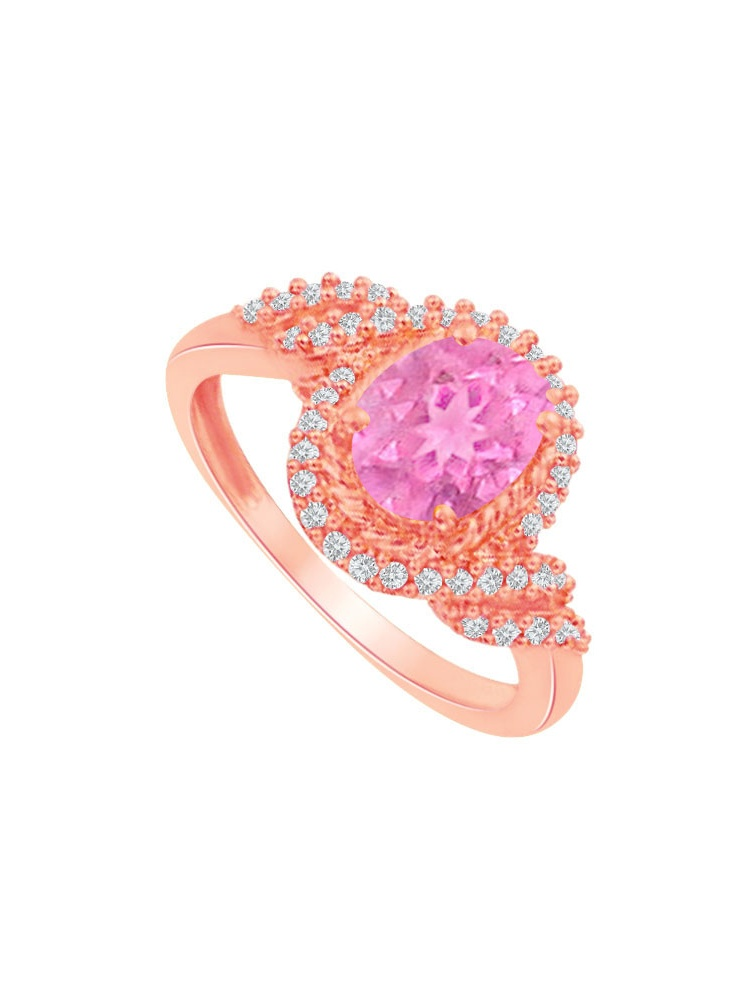 Pink Sapphire Cubic Zirconia Swirl Design Ring in Rose Gold Vermeil by Love Bright