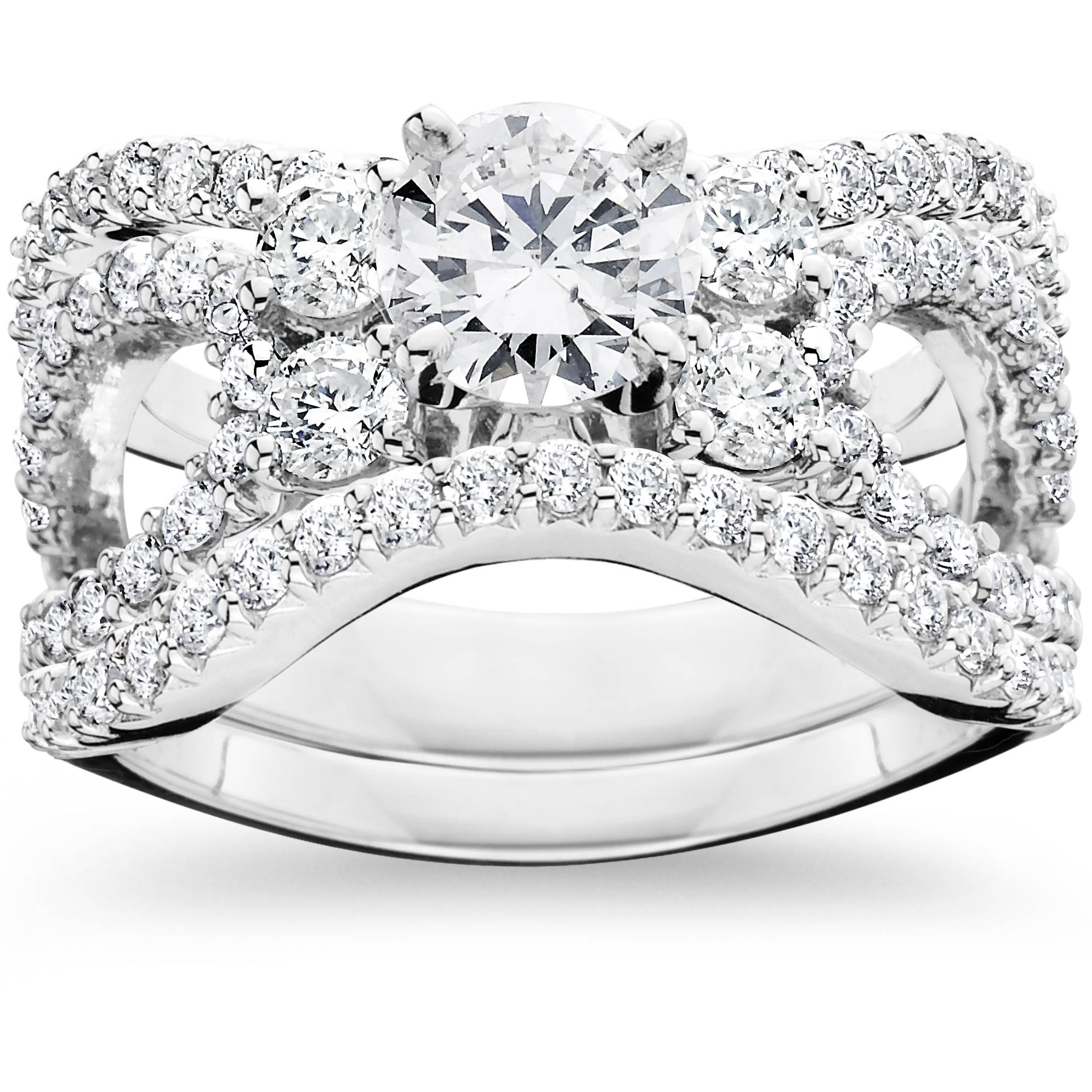 4.00Ct Diamond Engagement Trio Wedding Guard Ring Set 14K White Gold - image 4 of 4