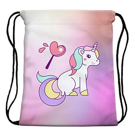 1749cbf56e33 StylesILove My Unicorn World Graphic Print Gym Girls Womens Drawstring  Backpack (Heart Multicolor)