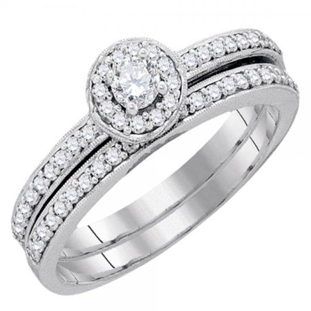 Dazzlingrock Collection 0.50 Carat (ctw) 10k Round White Diamond Ladies Bridal Halo Style Engagement Ring Set 1/2 CT, White Gold (Halo Style Round Diamond)