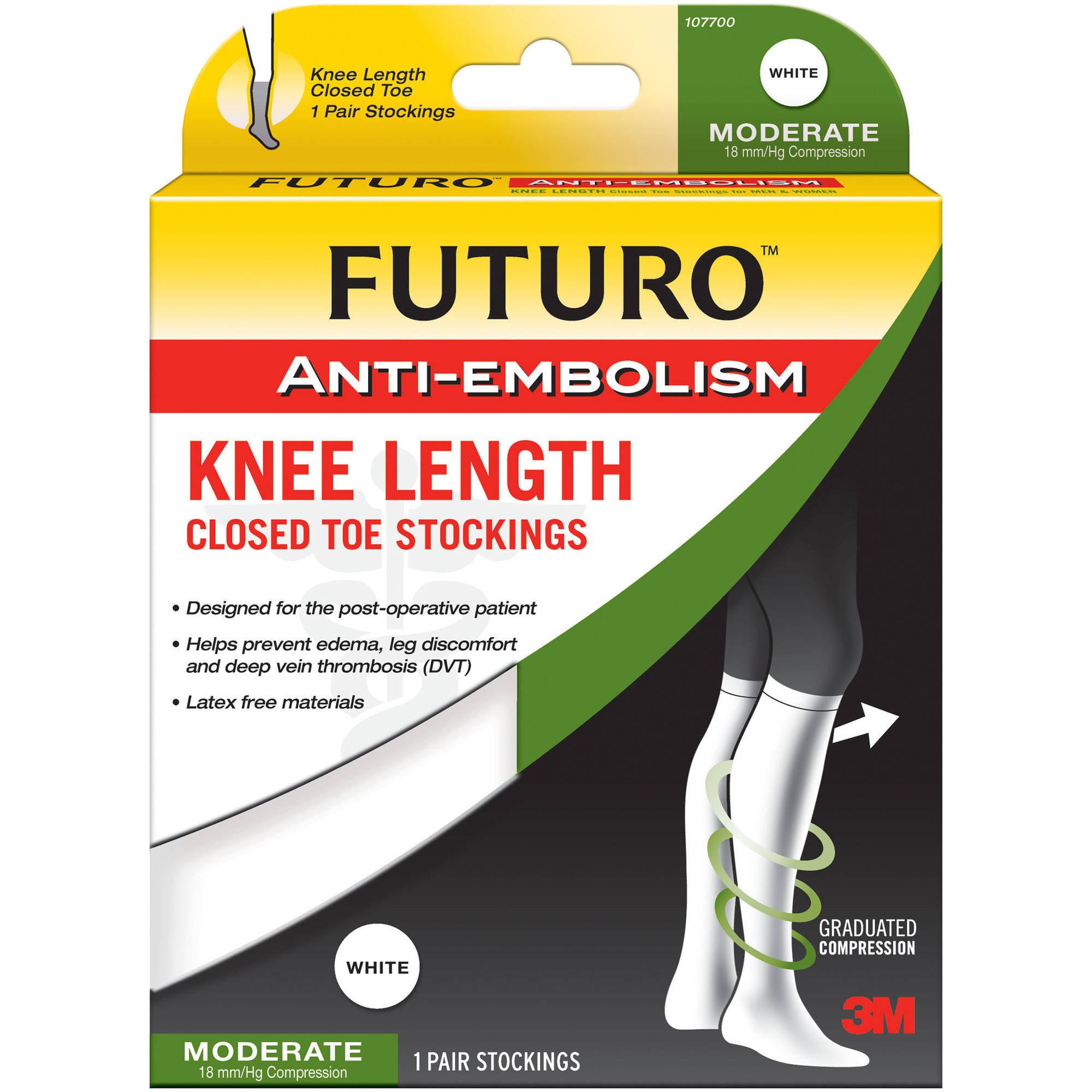 FUTURO Anti-Embolism Stockings, Knee Length, Closed Toe, Medium Regular, White