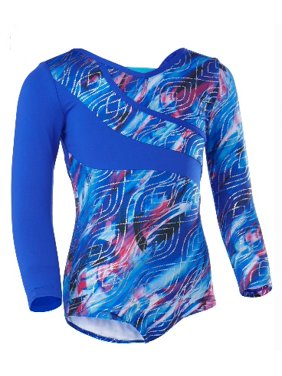 Future Star by Capezio Asymetrical Long Sleeve Dance & Gymnastics Leotard with Colorblock Detail (Little Girls & Big Girls)