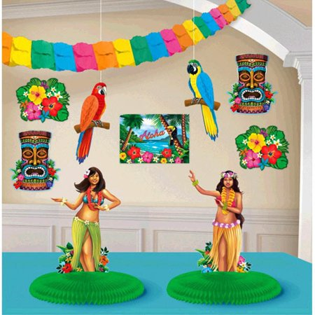 Hula Girl Birthday (Summer Fun 10 Pc Room Decorating Kit Luau Hula)