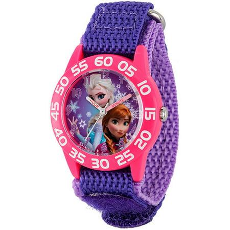 Disney Frozen Anna   Elsa Girls Plastic Case Watch  Purple Nylon Strap