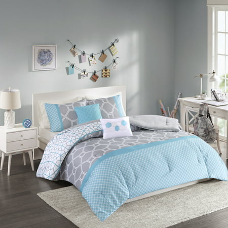 Home Essence Sarah 4-Piece Luxury Comforter Set in Gray-Blue Geometric Print, Twin
