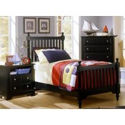 Youth Slat Poster Bed w Nightstand & Chest in Black Finish (Twin)