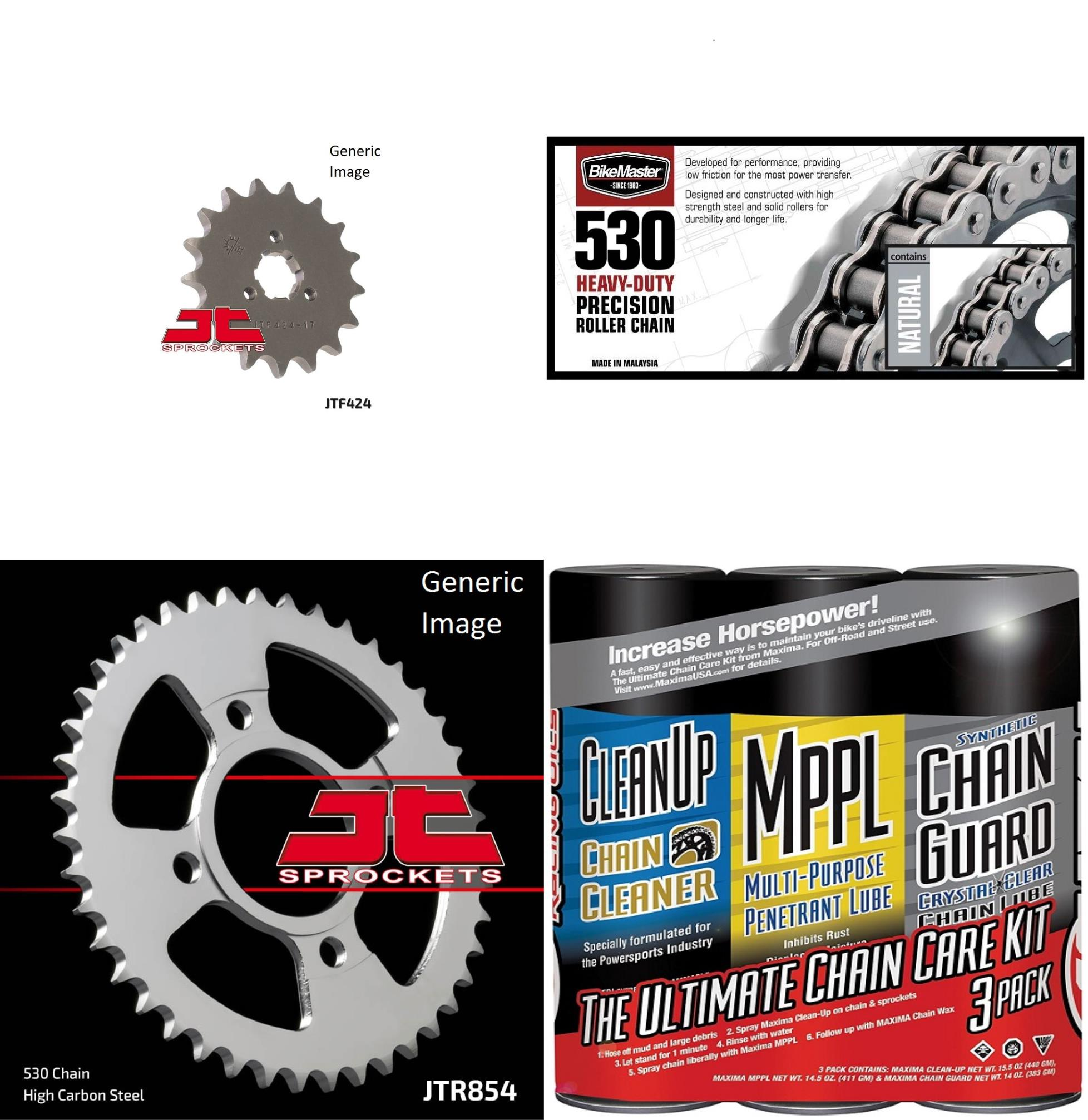 BIKEMASTER 530H Heavy-Duty Precision Roller Chain Natural with MAXIMA Wax, JT Front & Rear Sprocket Kit for Street YAMAHA XS400 1978-1979