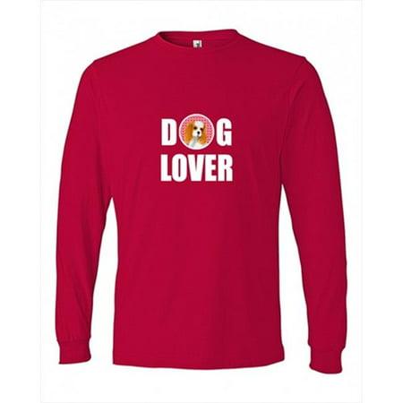 Cavalier Spaniel  Long Sleeve Red Unisex Tshirt (Spaniel Long Sleeve Tee)