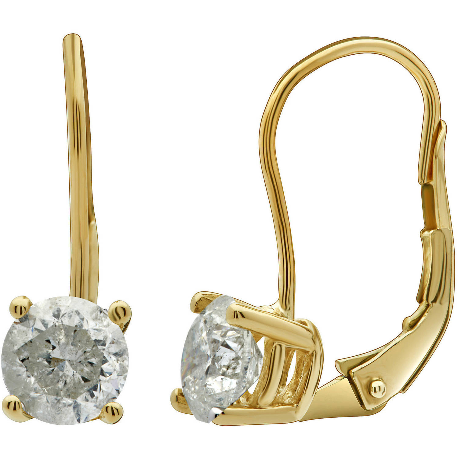 1.00 Carat T.W. Round Diamond 14kt Yellow Gold Leverback Stud Earrings with Gift Box, IGL Certified