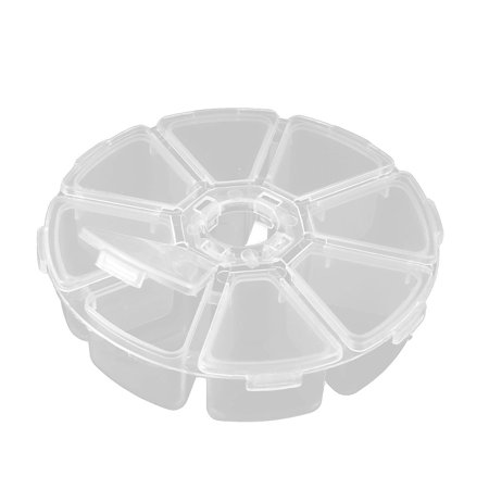 Household Plastic Round Shape 8 Compartments Bead Container Storage Case Clear