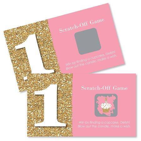 1st Birthday Girl - Fun to be One - First Birthday Party Game Scratch Off Cards - 22 (1st Year Birthday Party Ideas For A Boy)