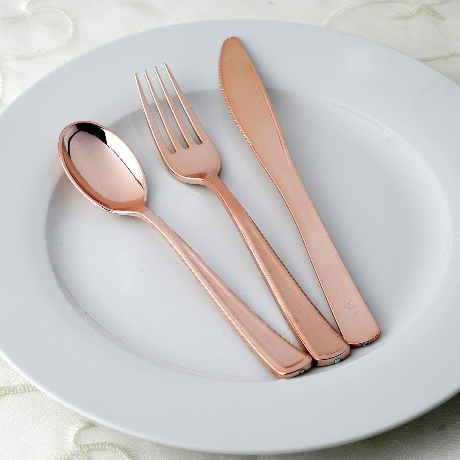BalsaCircle 30 pcs Spoons, Forks, and Knives Disposable Silverware- Metallic Rose Gold by BalsaCircle