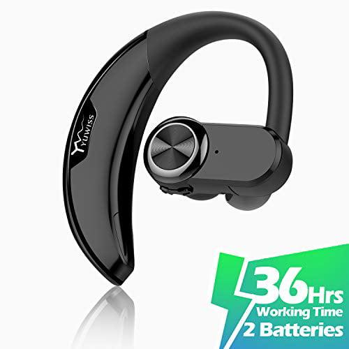 Yuwiss Bluetooth Headset 36hrs Playtime 2 Batteries V4 2 Wireless Bluetooth Earpiece For Cell Phone Noise Canceling Car E Walmart Com Walmart Com