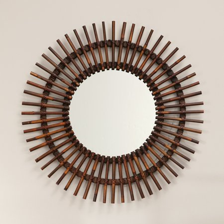 Natural Rattan Sunburst Mirror - 38 diam. in. ()