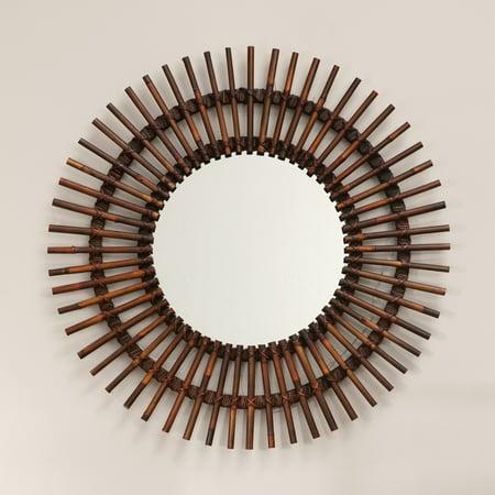 Sunburst Mosaic - Natural Rattan Sunburst Mirror - 38 diam. in.