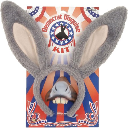 Democratic Party Political Donkey Kit Ears Headpiece Nose Teeth Costume, Style FM61646 - Pig Ears And Nose Costume