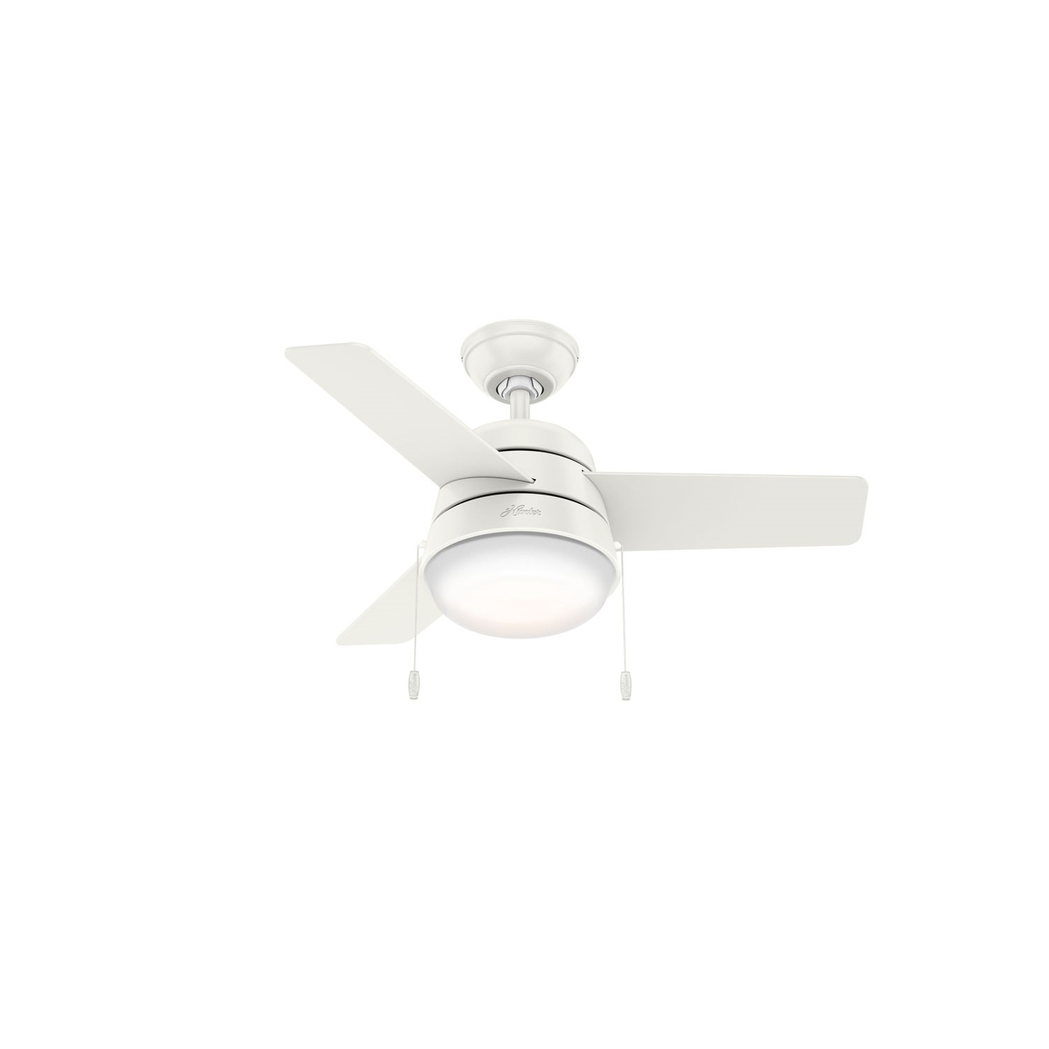 Hunter 59303 36 in. Aker Brushed Nickel Ceiling Fan with Light by Hunter