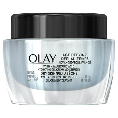 Olay Age Defying ADVANCED Gel Cream Moisturizer with Hyaluronic Acid for Dry Skin, 50 mL, 1.7 oz (Men Age Defying Cream)