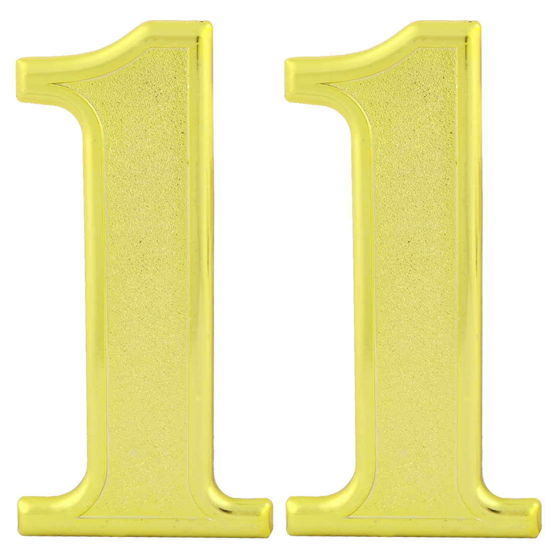 Home Door Plastic 1 Shaped Self Adhesive Plate Sign Number Label Gold Tone 2pcs