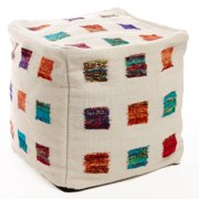 Best Home Fashion Wool Multicolor Square Pouf