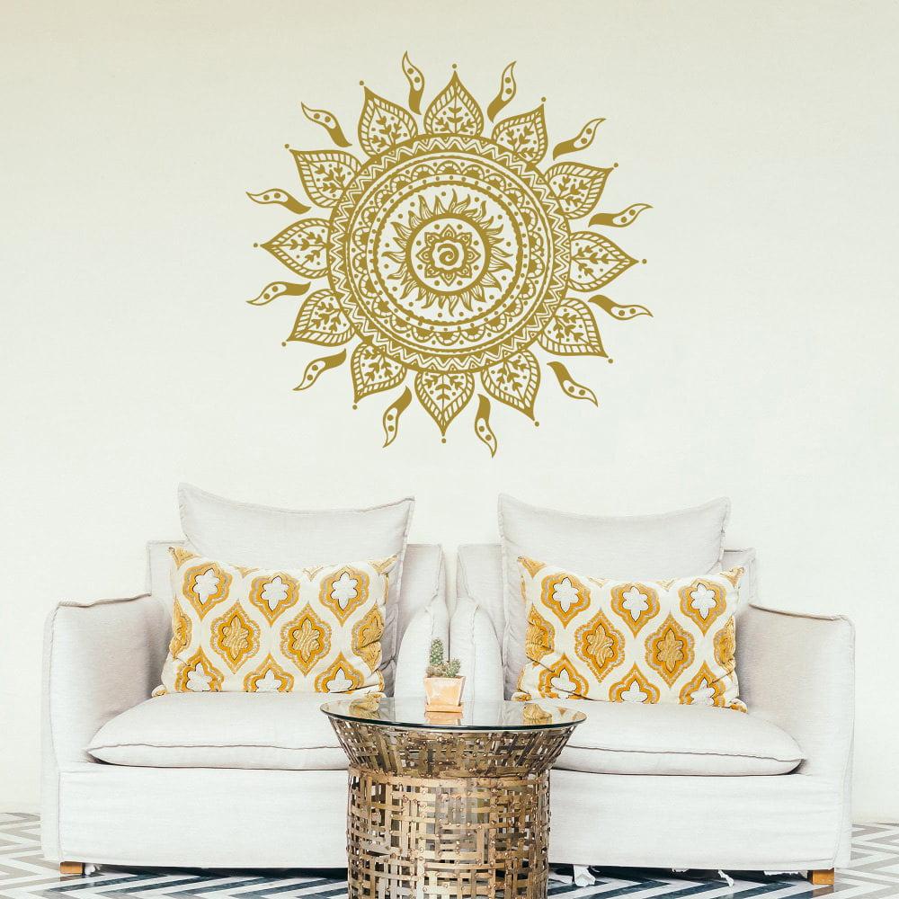 Wall Decal Mandala Vinyl Sticker Decals Lotus Flower Home Decor Boho Bohemian Bedroom Art Ornament Moroccan Pattern Namaste Yoga Studio