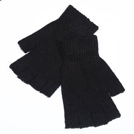 Men Knitted Wool Outdoor/Indoor Warm Fingerless Half Finger Mittens Riding Gloves Color:Black Size:Free