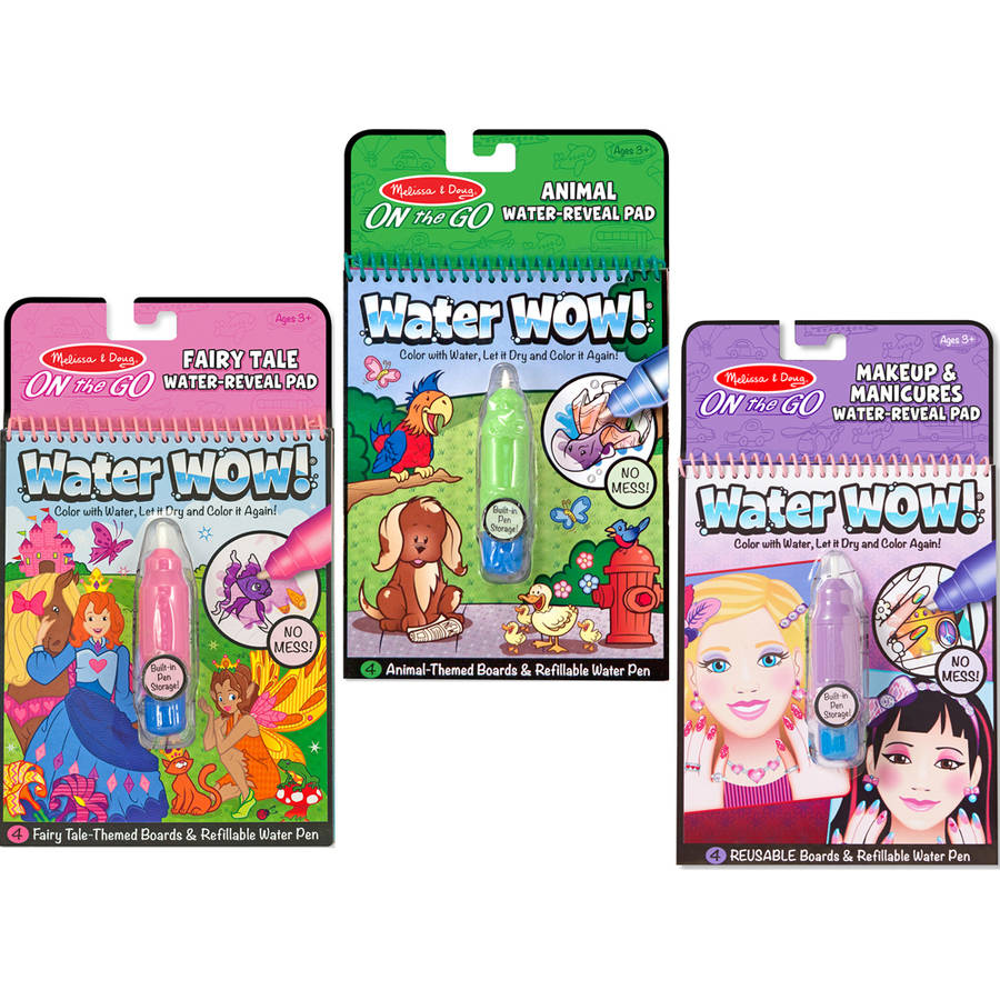 Melissa & Doug Water Wow Bundle, Makeup & Manicures, Fairy Tale and Animals